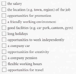 Factors important in a job