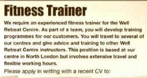 fitness trainer job