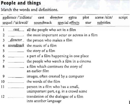 Cinema Vocab