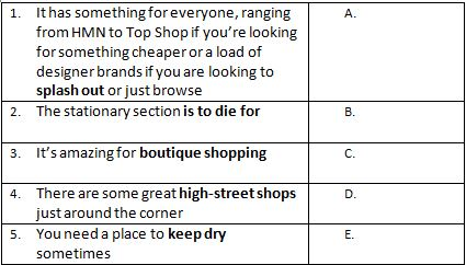 Shopping phrases