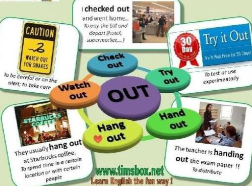 Phrasal verb out