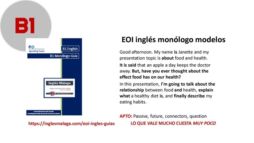 B1 EOI ingles monologo
