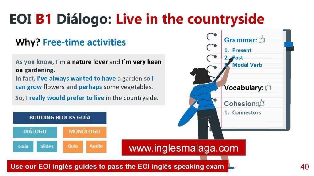 B1 EOI ingles speaking exam, B1 EOI ingles dialogo, B1 EOI dialogo modelo