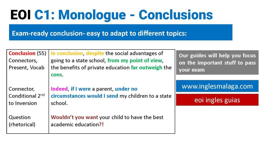EOI ingles exam-ready sentences for a conclusions