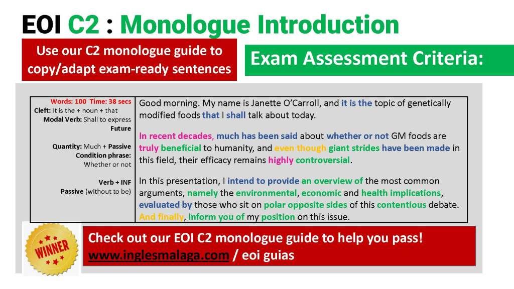 C2 EOI ingles monologue, essay introduction